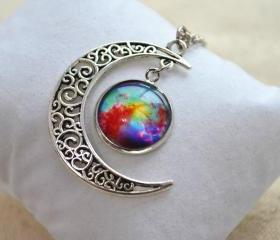 Crescent Moon Necklace,Colorfull Galaxy necklace, Cosmic Universe jewelry,hope necklace (XL010)