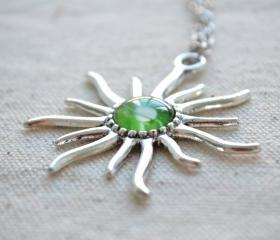 AZTEC SUN necklace,sunshine necklace.Galaxy earth picture necklace,Celestial jewelry (XL009)