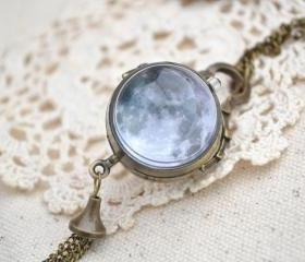 Full Moon Pocket Watch,Space moon pendent Necklace,Double sides ball pocket watch necklace,tassel jewelry (HB008)